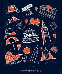 Handgezeichnete Reisetapete