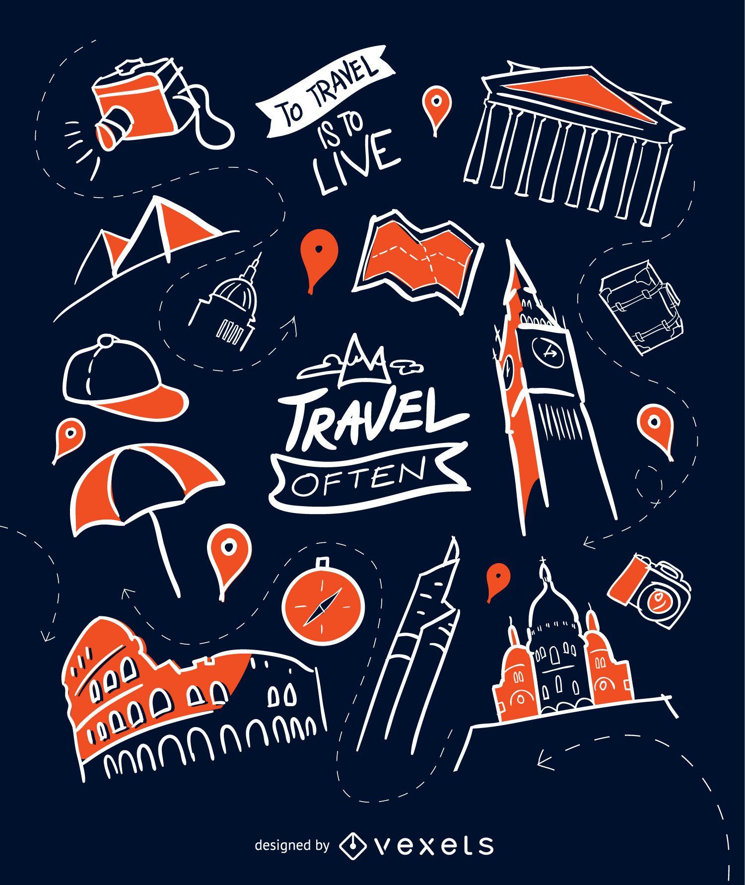 Hand-drawn travel wallpaper