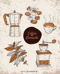 Conjunto de elementos de café desenhados à mão