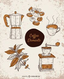 Handgezeichnete Kaffee-Elemente gesetzt