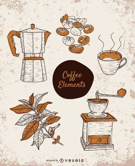 Hand-drawn coffee elements set