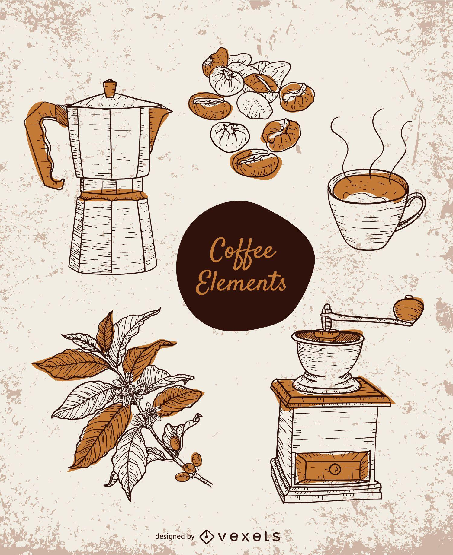 Conjunto de elementos de café dibujados a mano