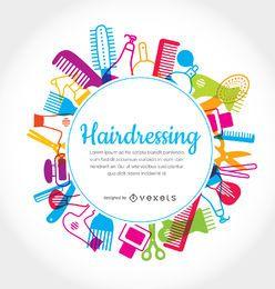 Quadro de elementos de cabeleireiro arredondado