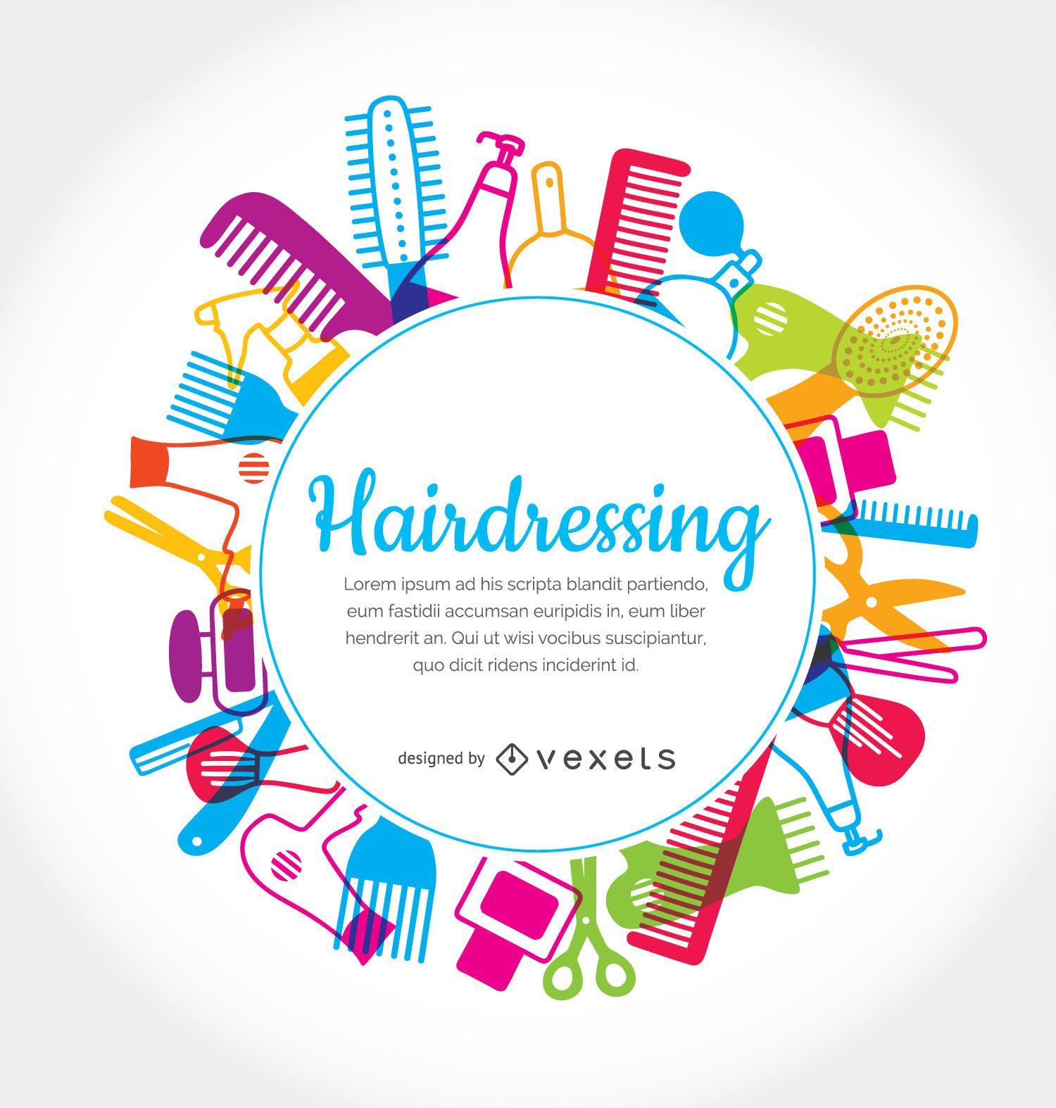 Hairdressing elements rounded frame
