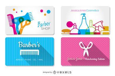 Cartões de visitas do cabeleireiro e da barbearia