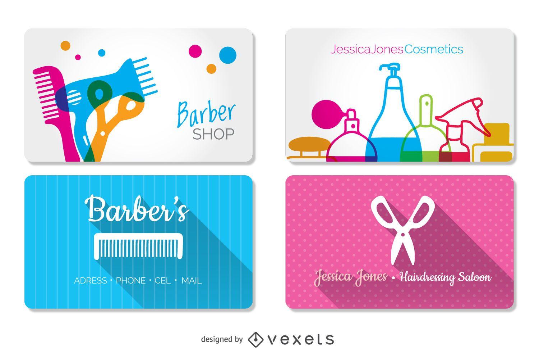 Cartões de visita de cabeleireiro e barbearia