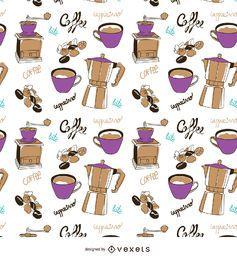 Von Hand gezeichnetes Muster der Kaffeeelemente