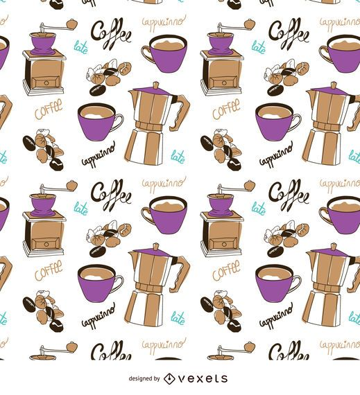 Coffee elements hand-drawn pattern