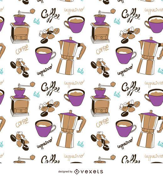 Padrão de mão-extraídas de elementos de café