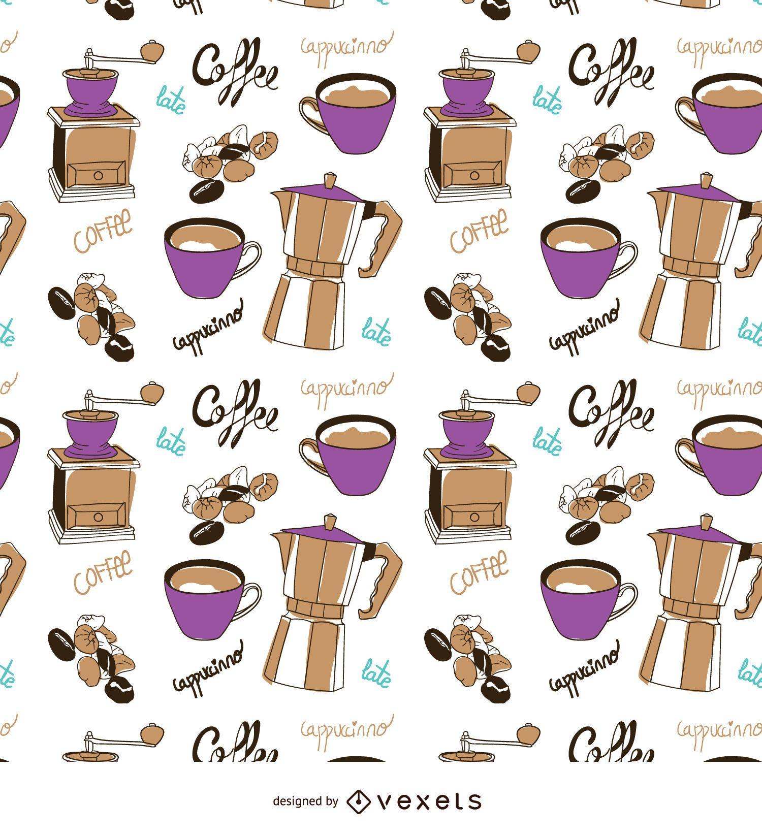 Coffee elements hand-drawn pattern