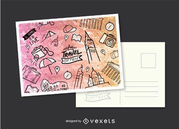 Postal dibujada a mano de viaje