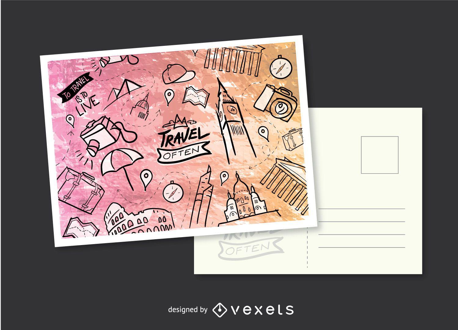 Travel Hand-drawn postcard