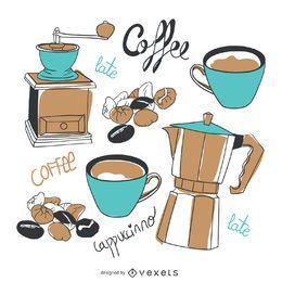 Conjunto de elementos de café em estilo desenhado à mão