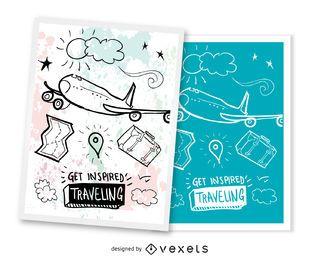 Conjunto de 2 cartões postais de viagem