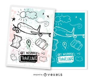 Set de 2 postales de viaje.