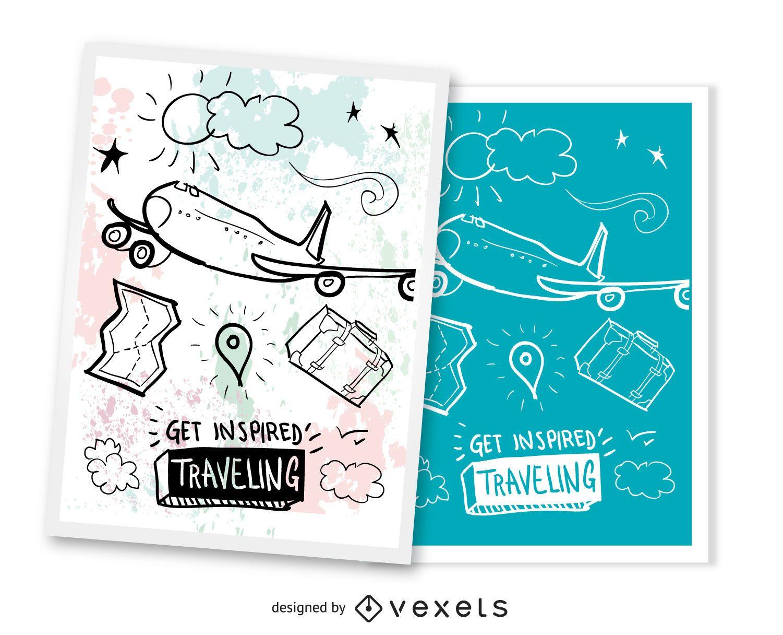 Set of 2 traveling  postcards