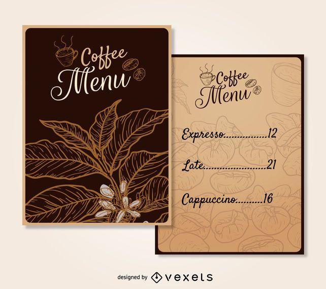Modelo de menu de café