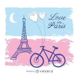 Amor no cartão de Paris