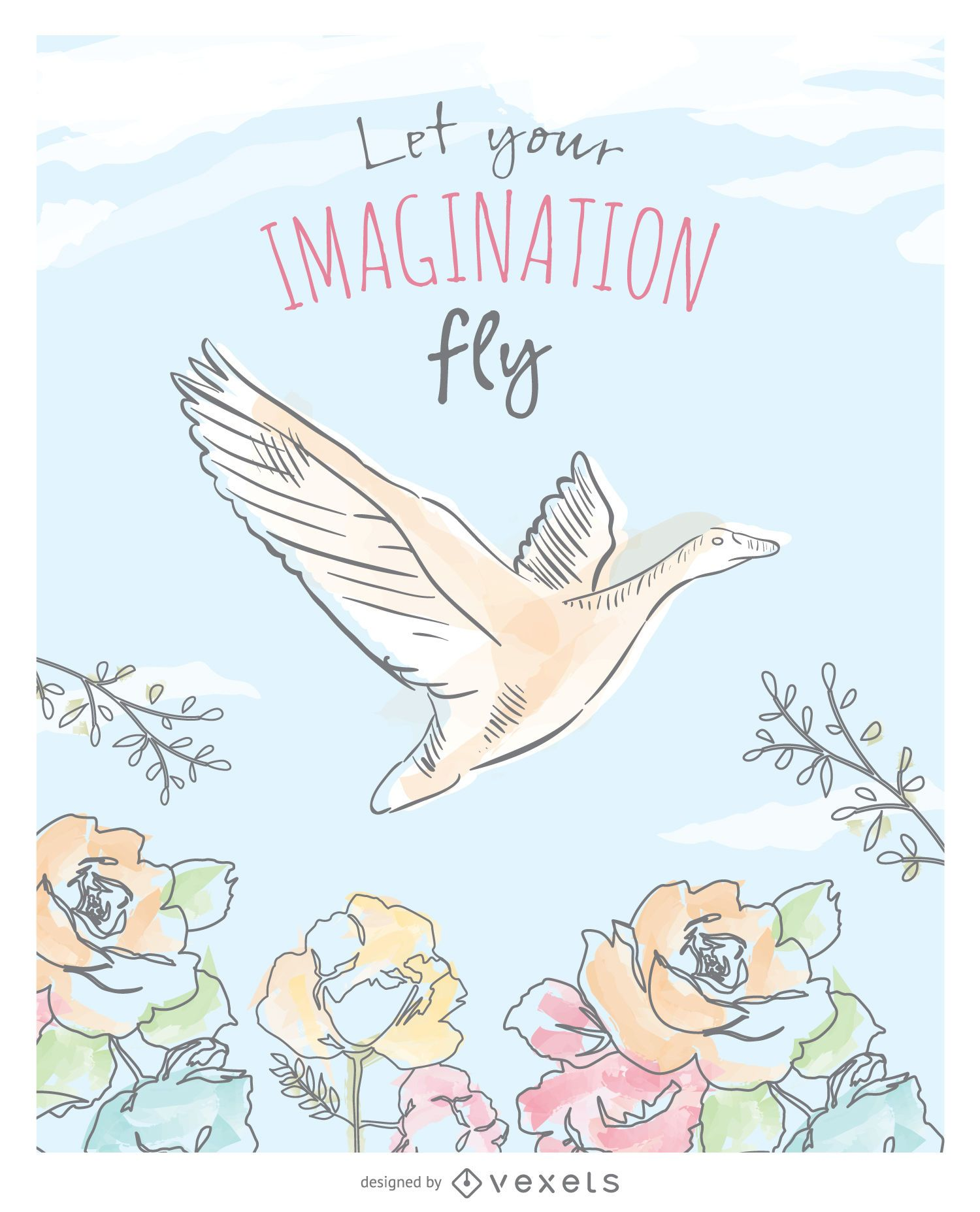 Delicate watercolor flying duck card