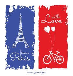 Lindo cartão de felicitações para viagens em Paris