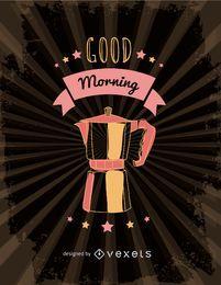 Ilustração retro da cafeteira italiana