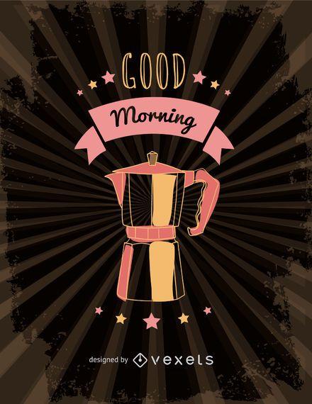 Ilustração de cafeteira italiana retrô