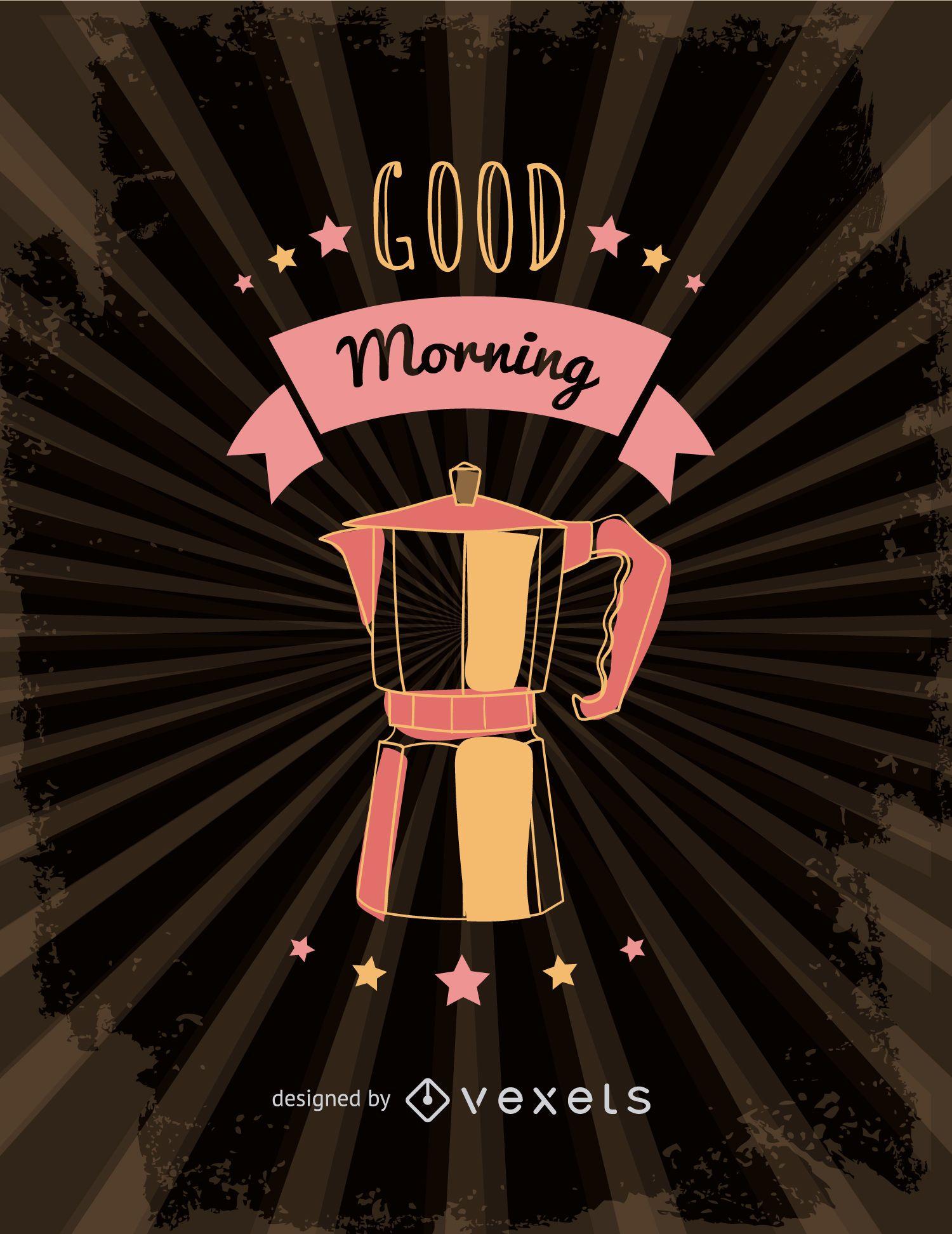 Retro Italian coffee maker illustration