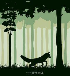 Fox em uma paisagem da floresta