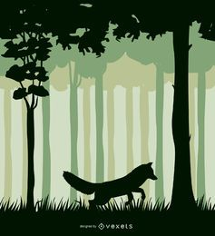 Zorro en un paisaje forestal
