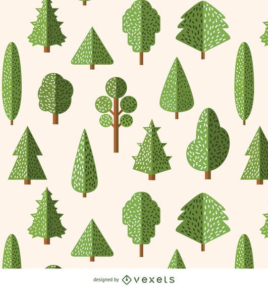 Flat style trees pattern