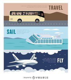 Reisen Banner - Bus - Flugzeug - Fähre
