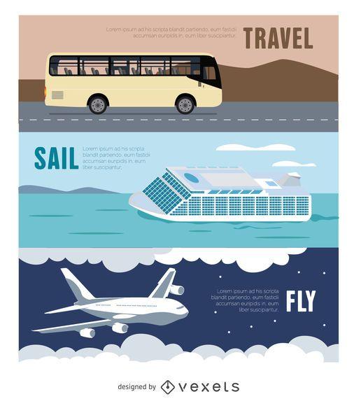 Banner de viaje - Autobús - Avión - Ferry