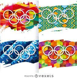 Rio 2016 - Anillos olímpicos sobre fondos.