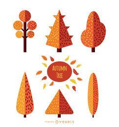 Conjunto de árbol de otoño - estilo plano