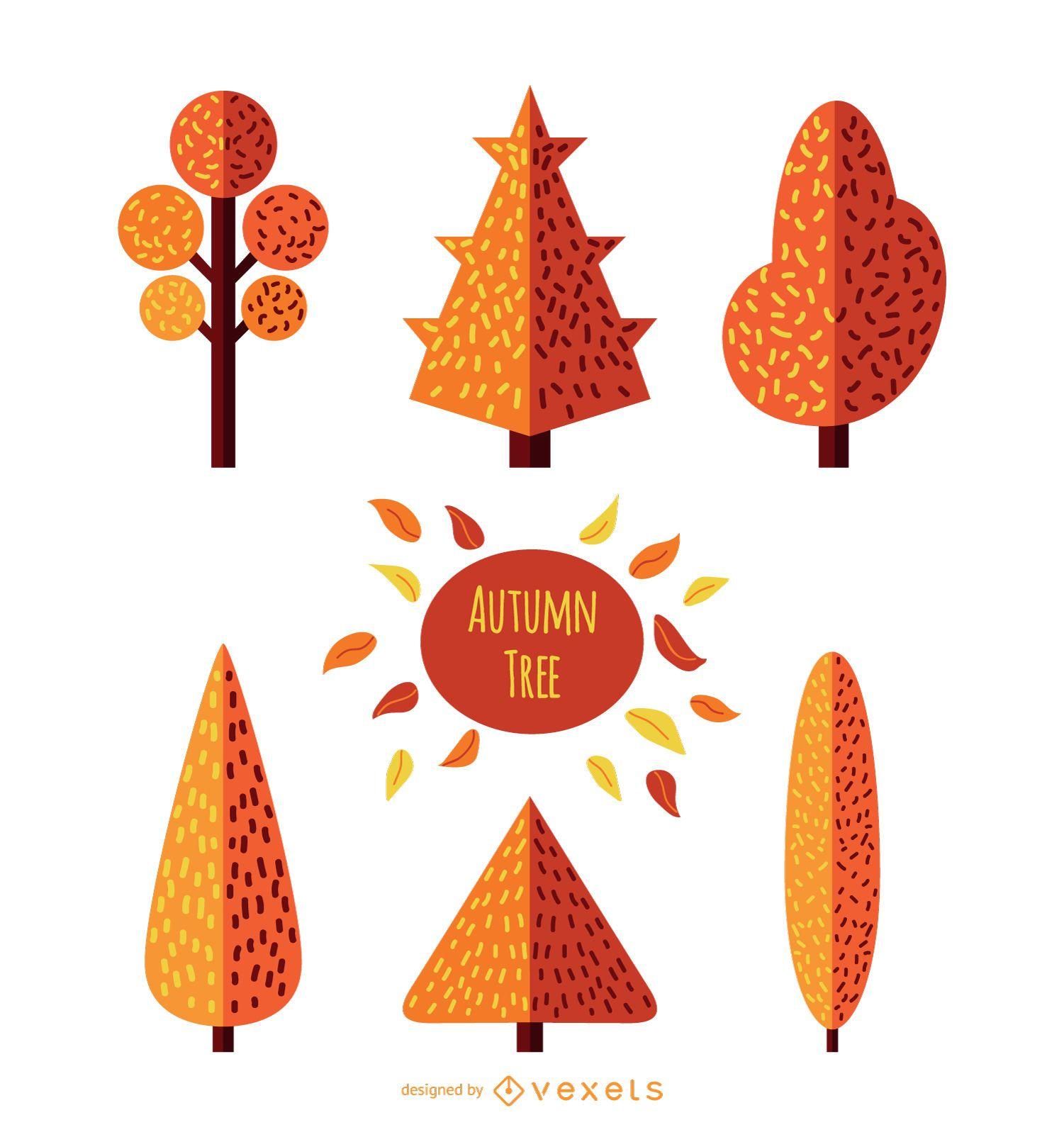 Conjunto de árvores de outono - estilo plano