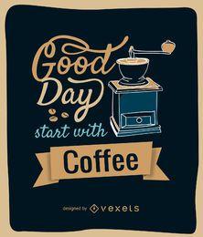 Diseño de molinillo de café con mensaje.