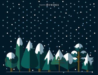 9 flache, verschneite Bäume