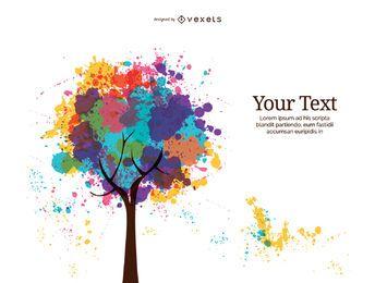 Árvore abstrata da tinta da cor cheia