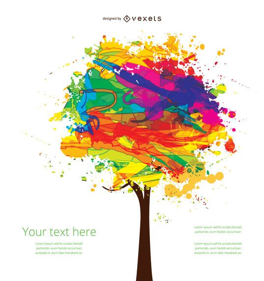 Artistic ink colorful tree