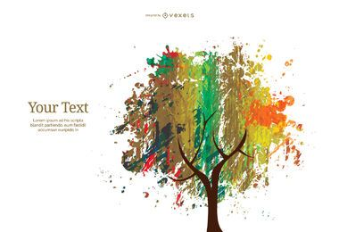 Colorful abstract ink and crayon tree