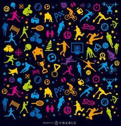 Fundo colorido de esportes sobre preto