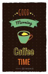 Cartaz retro de tempo de café
