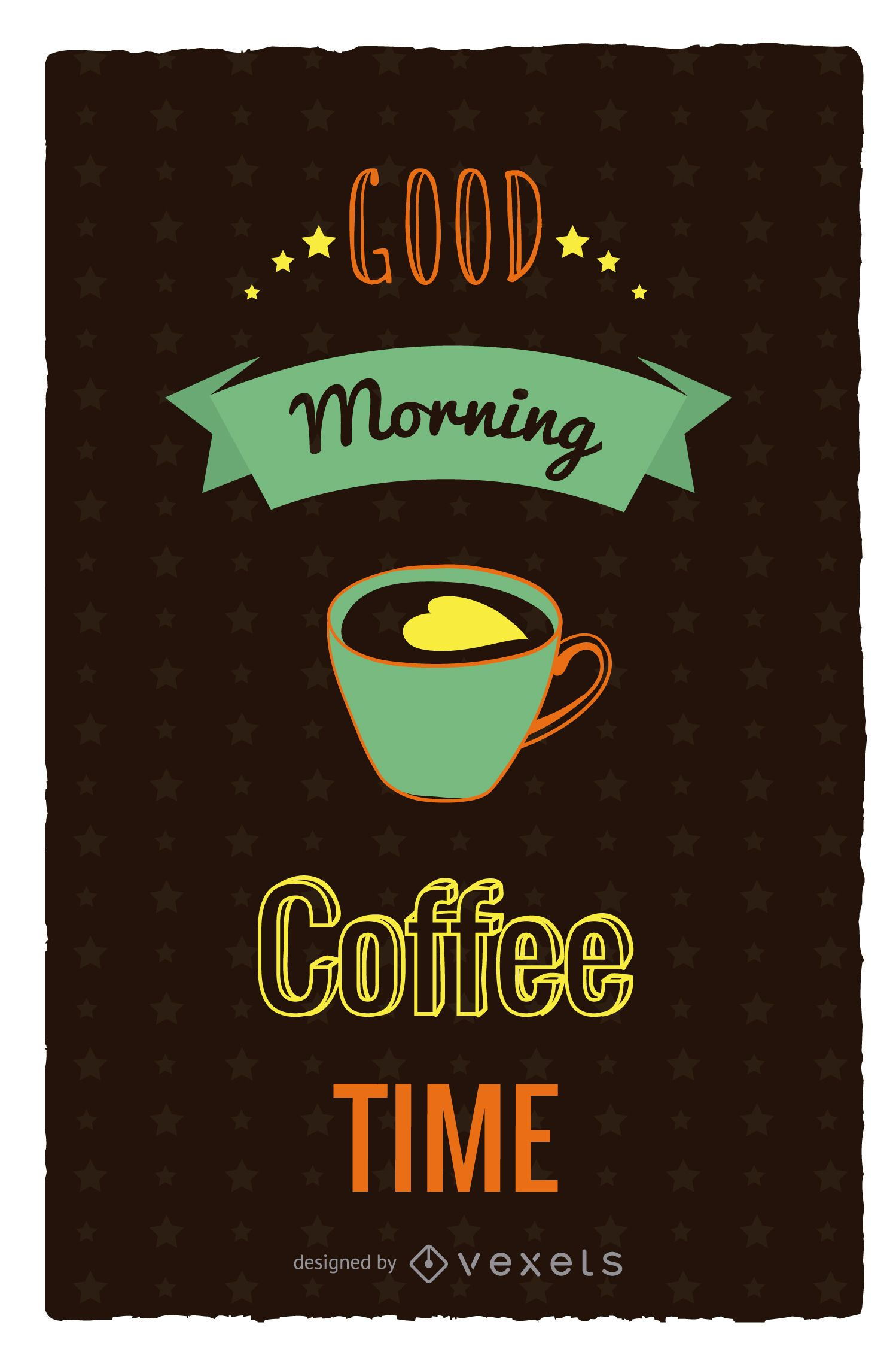 Cartel retro de la hora del café
