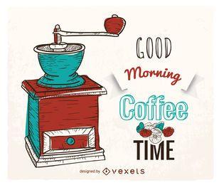 Cartel de café dibujado a mano con molinillo