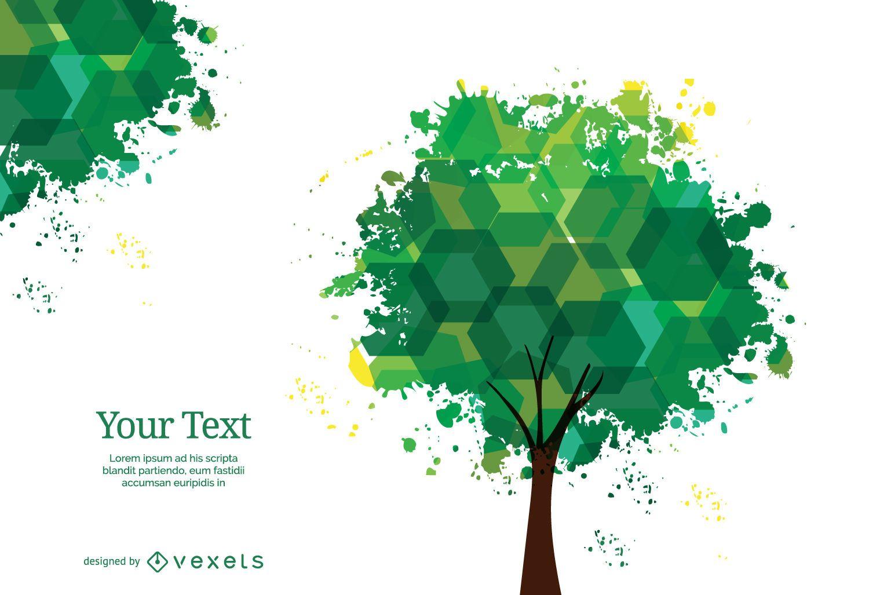 Árbol de hexágonos y manchas de tinta