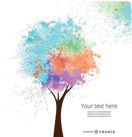 Árvore artística de cores suaves
