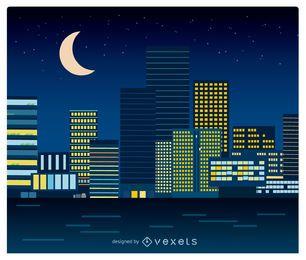 Paisaje urbano nocturno en estilo plano