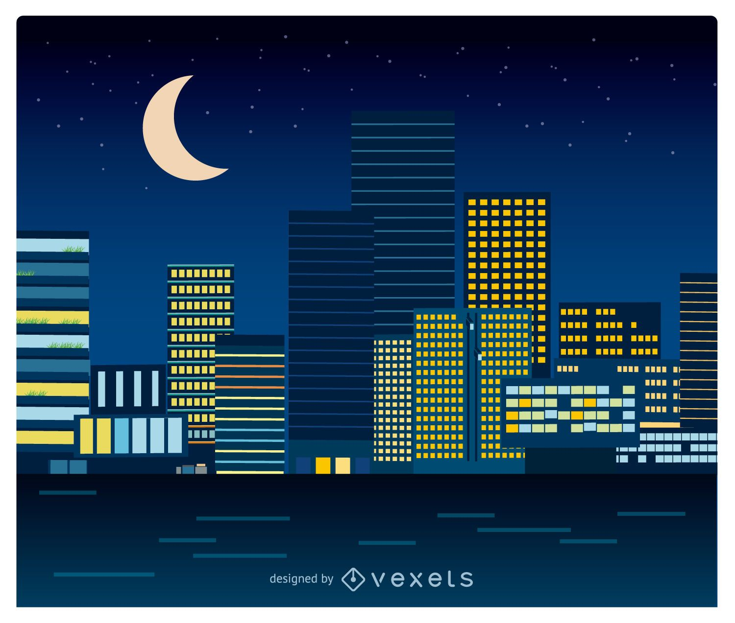 Night cityscape in flat style