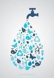 Día mundial del agua: toque con iconos