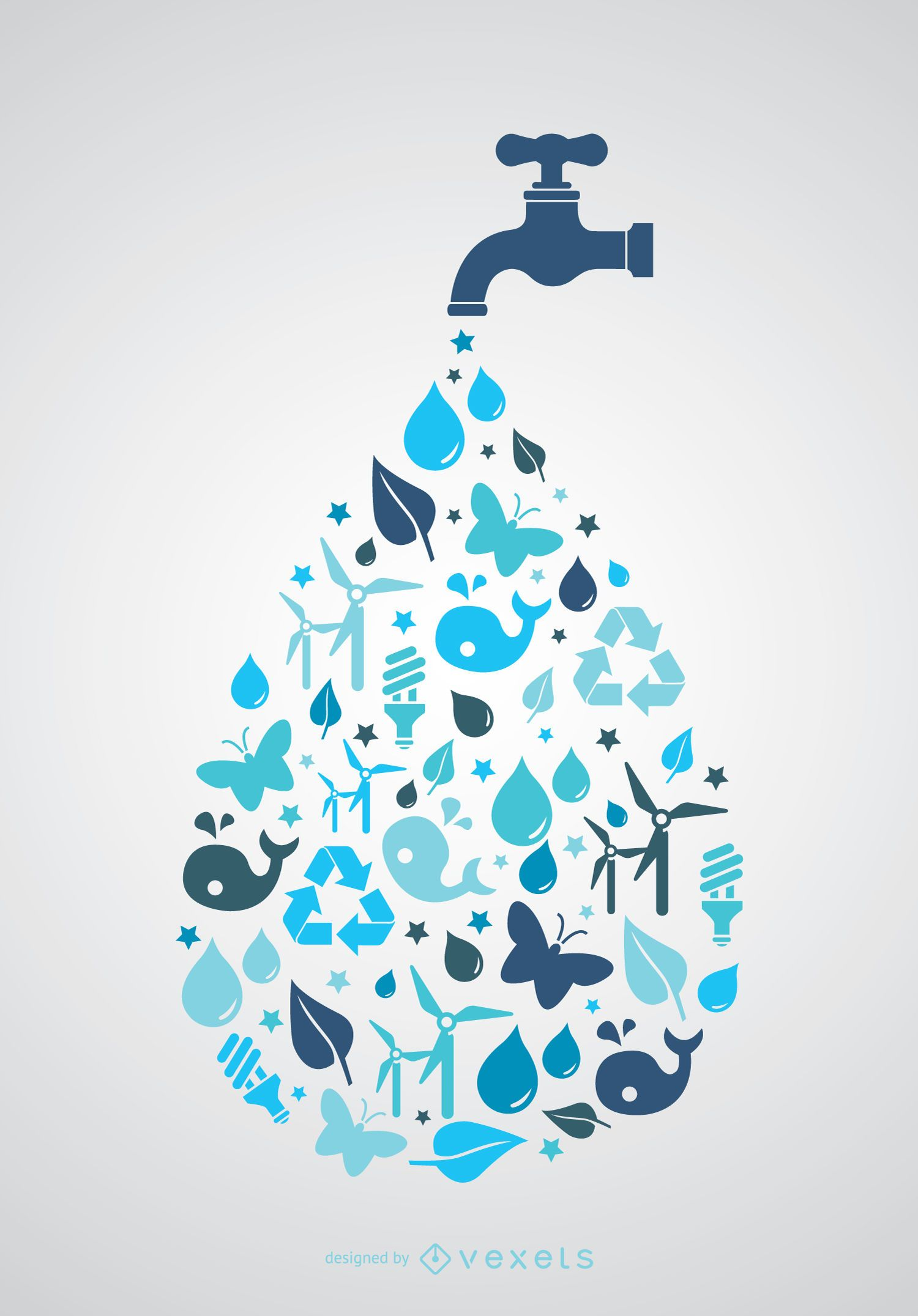 World Water day - Tap with icons